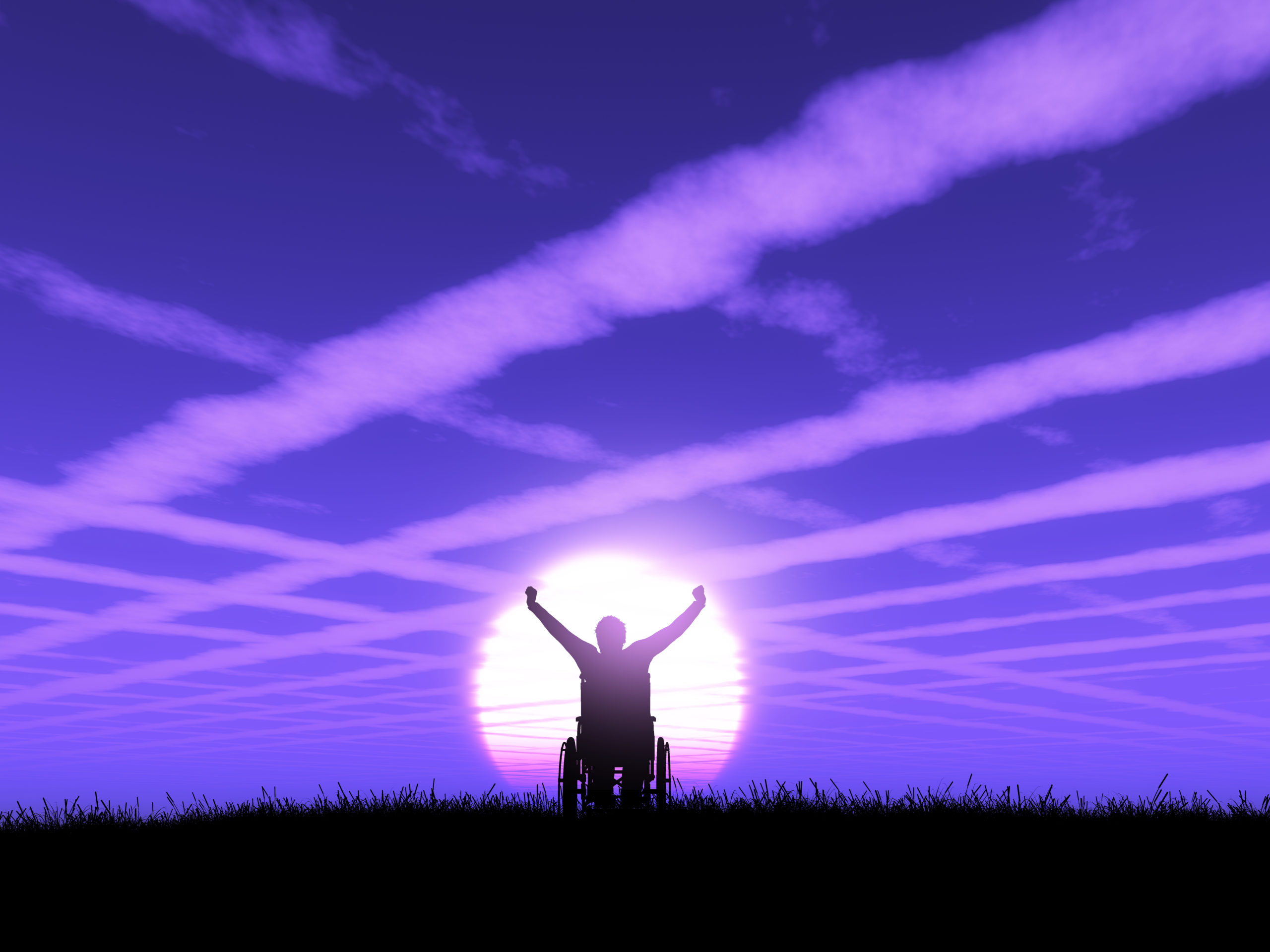 3D male in wheelchair with arms raised against a purple sunset l